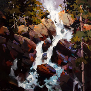 "SOLD ""Ochre Rock Falls,"" by Michael O'Toole 30 x 30 – acrylic $3200 Unframed"