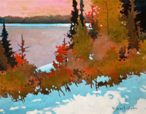 "SOLD ""October Light, Heenan Point, Lake of the Woods,"" by Robert Genn 14 x 18 – acrylic $4600 Unframed"