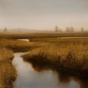 "SOLD ""October Marsh,"" by Renato Muccillo 5 x 5 - oil on mylar $1150 in show frame"