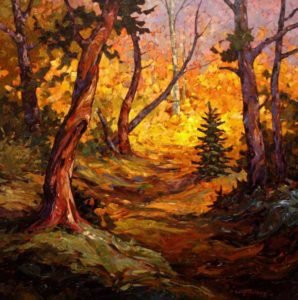 "SOLD ""October Yellows,"" by Phil Buytendorp 30 x 30 – oil $2370 Framed"