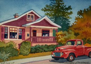 "SOLD ""Old Pick-up,"" by Michael Stockdale 5 x 7 – watercolour $220 Unframed"