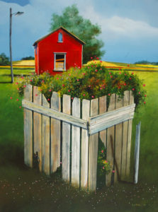 "SOLD ""The Old Well Cover,"" by Mark Fletcher 30 x 40 – acrylic $3430 Framed"