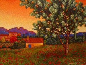 "SOLD ""Olive Tree,"" by Michael Stockdale 14 x 18 – acrylic $825 Framed"