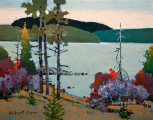 "SOLD ""On Big Stone Bay II, Lake of the Woods,"" by Robert Genn 11 x 14 – acrylic $2800 Unframed"