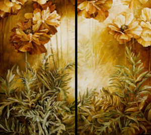 "SOLD ""One Poppy Two Poppy Three Poppy Four,"" by Linda Thompson diptych – each panel 20 x 36 – acrylic/mixed media $3440 (thick canvas wrap without frame)"