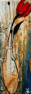 "SOLD ""One Wish,"" by Laura Harris 5 x 15 – acrylic $850 (thick canvas wrap without frame)"