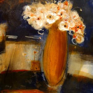 "SOLD ""On the Shelf,"" by Susan Flaig 24 x 24 – acrylic with graphite $1000 Unframed"