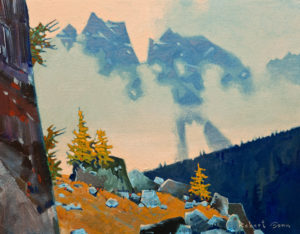 "SOLD ""On the Way Up to MacArthur,"" by Robert Genn 14 x 18 – acrylic $5000 Unframed"