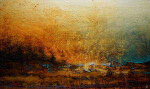"SOLD ""On this Horizon,"" by Laura Harris 36 x 60 – acrylic $6050 (thick canvas wrap without frame)"