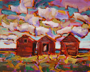 "SOLD ""On Way to Drumheller,"" by Ed Loenen 8 x 10 – oil $470 Framed"