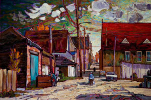 "SOLD ""Ordinary Day Down the Back Lane,"" by Ed Loenen 24 x 36 – oil $2320 Unframed"