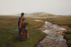 "SOLD ""Origins,"" by Donna Zhang 24 x 36 – oil $5630 Unframed"