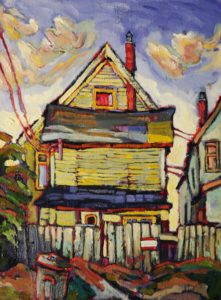 "SOLD ""Our Home No. 3,"" by Ed Loenen 12 x 16 – oil $825 Framed"