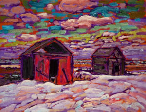 "SOLD ""Our Homestead Abandoned,"" by Ed Loenen 14 x 18 – oil $800 Unframed"