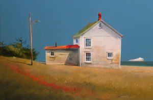 "SOLD ""Out at Elliston, Newfoundland,"" by Mark Fletcher 20 x 30 – acrylic $2360 Framed"