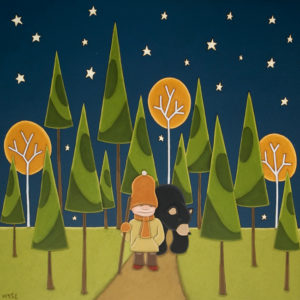 "SOLD ""Out of the Woods,"" by Peter Wyse 24 x 24 – acrylic $1450 (unframed panel  with 1 1/2"" wide edging)"