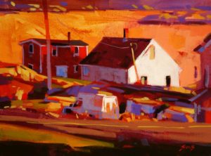 """SOLD """"Outport Buildings, Newfoundland,"""" by Mike Svob 12 x 16 – acrylic $1115 Framed"""