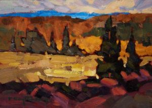 "SOLD ""Overview,"" by Phil Buytendorp 5 x 7 – oil $490 Framed"