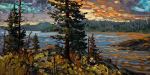 "SOLD ""Pacific Rim, Latelight,"" by Rod Charlesworth 12 x 24 – oil $1600 Unframed"