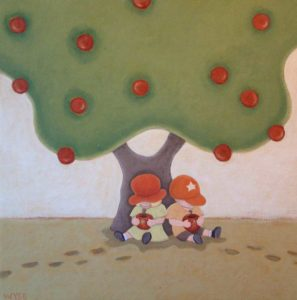 "SOLD ""Pals,"" by Peter Wyse 24 x 24 – acrylic $900 (unframed panel  with 1 1/2"" wide edging)"