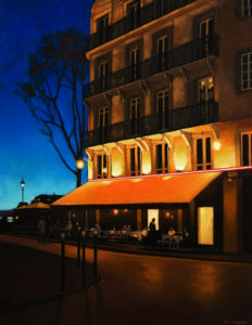"SOLD ""Paris Café at Night,"" by Ray Ward 14 x 18 – oil $1140 Framed"