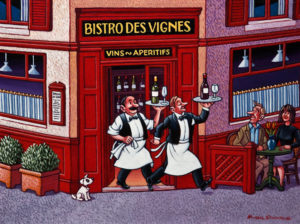 "SOLD ""Parisian Wine Bistro,"" by Michael Stockdale 12 x 16 – acrylic $630 Unframed"