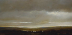 "SOLD ""Passing Storm Over Three Lake Valley,"" by Renato Muccillo 15 x 30 – oil"