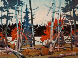 "SOLD ""Pattern, Heenan Point, Lake of the Woods,"" by Robert Genn 12 x 16 – acrylic $3200 Unframed"