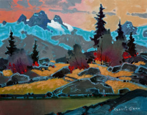 "SOLD ""Pattern Above Cobalt Lake, Bugaboos,"" by Robert Genn 11 x 14 – acrylic $2700 Unframed"