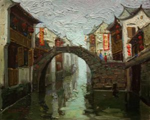 "SOLD ""Peaceful Afternoon, Suzhou,"" by Dongmin Lai 8 x 10 – oil $800 Framed"