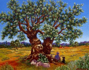 "SOLD ""A Peaceful Moment Under the Old Olive Tree,"" by Michael Stockdale 24 x 30 – acrylic $1490 Unframed"