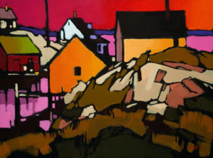 """SOLD """"Peggy's Cove Pattern,"""" by Mike Svob 12 x 16 – acrylic $1035 Unframed"""