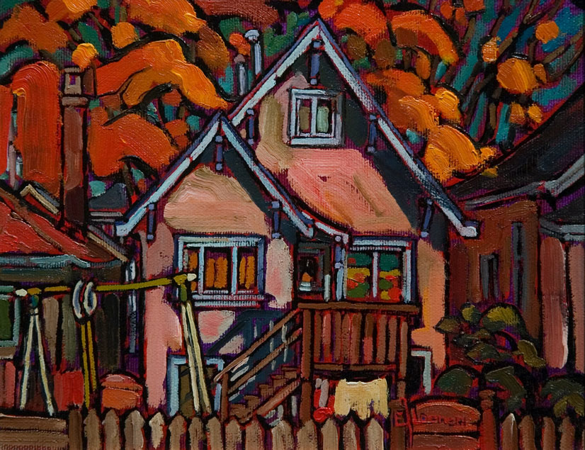 SOLD ``Perfect Fall Morning in Vancouver East,`` by Ed Loenen 8 x 10 - oil (1998) $510 Framed