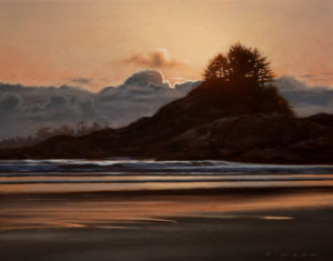 "SOLD ""Pettinger Point Sundown,"" by Ray Ward 8 x 10 – oil $695 Unframed"