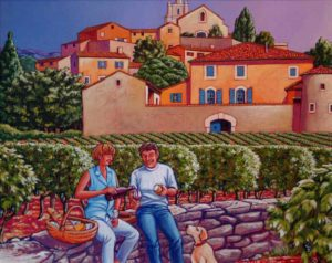"SOLD ""Picnic in the Vineyards,"" by Michael Stockdale 16 x 20 – acrylic $885 Framed"