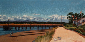 "SOLD ""The Pier – Crescent Beach,"" by Michael Stockdale 12 x 24 – acrylic $770 Unframed"