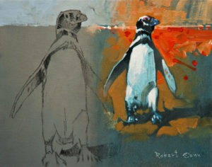 "SOLD ""Pinguino – Sketch at Tombo (Patagonia, Argentina),"" by Robert Genn 11 x 14 – acrylic $2600 Unframed"