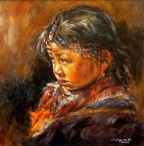 "SOLD ""The Plateau Girl,"" by Donna Zhang 24 x 24 – oil"