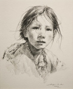 "SOLD ""Plateau Princess,"" by Donna Zhang 10 x 12 1/2 - pencil drawing $1240 in show frame"