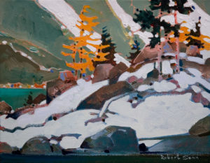 "SOLD ""Point McArthur, September, Yoho Park,"" by Robert Genn 11 x 14 – acrylic $2400 Unframed"