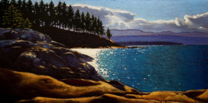 "SOLD ""Point of Light,"" by Ray Ward 18 x 36 – oil $2250 Framed"