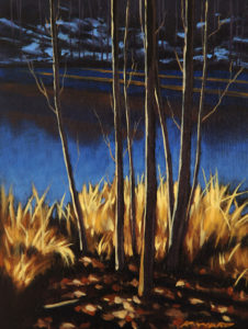 "SOLD ""Pond's Edge Winter,"" by Ray Ward 6 x 8 – oil $560 Framed"