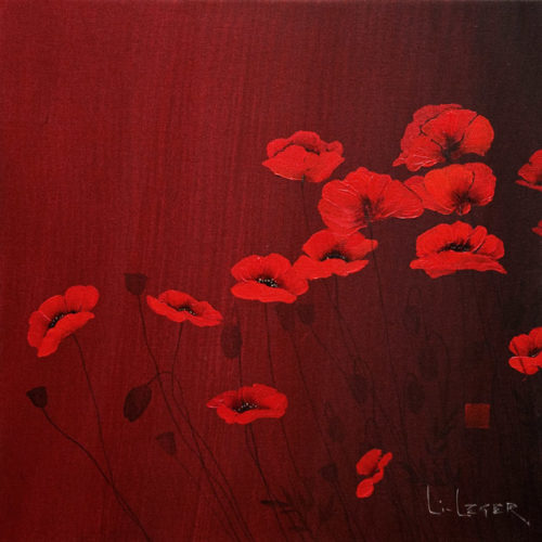 """""""Poppies in Red,"""" by Don Li-Leger 22 x 22 - acrylic $2400 (thick canvas wrap without frame) $2600 in show frame"""