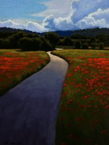 "SOLD ""Poppy Field Road,"" by Ray Ward 6 x 8 – oil $560 Framed"