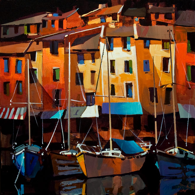 "SOLD ""Porto Venere,"" by Michael O'Toole 20 x 20 - acrylic $1540 Unframed"