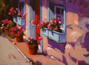 """SOLD """"The Potting Shed,"""" by Mike Svob 12 x 16 – oil $1115 Framed"""