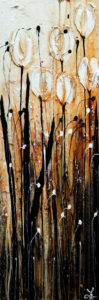 "SOLD ""Praise,"" by Laura Harris 12 x 36 – acrylic $1760 (thick canvas wrap without frame)"