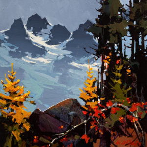 "SOLD ""The Precipice and the Tantalus,"" by Michael O'Toole 16 x 16 – acrylic $1220 Unframed"