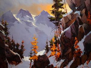 "SOLD ""Precipice Tantalus,"" by Michael O'Toole 36 x 48 – acrylic $5200 Unframed"