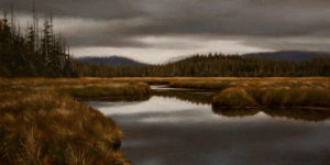"SOLD ""Promise of Rain, North Island,"" by Ray Ward 6 x 12 - oil $615 Unframed $810 in show frame"